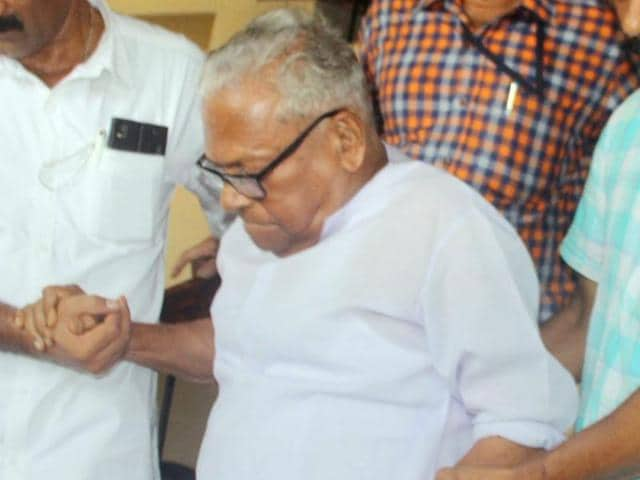LDF veteran VS Achuthanandan is escorted by supporters after he won the Assembly polls in Palakkad on Thursday.
