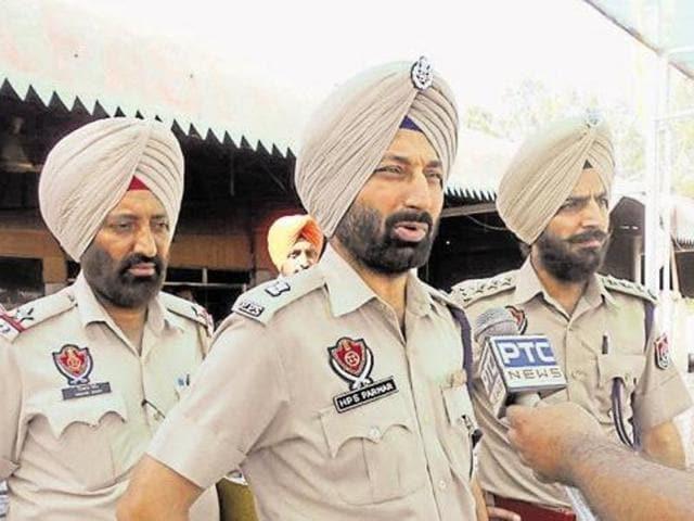 SP HPS Parmar, DSP Balachaur Rajpal Singh Hundal at the spot in Balachaur on Wednesday.