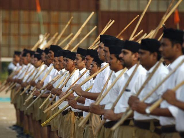 Volunteers of the Hindu nationalist organisation Rashtriya Swayamsevak Sangh (RSS) take part in the