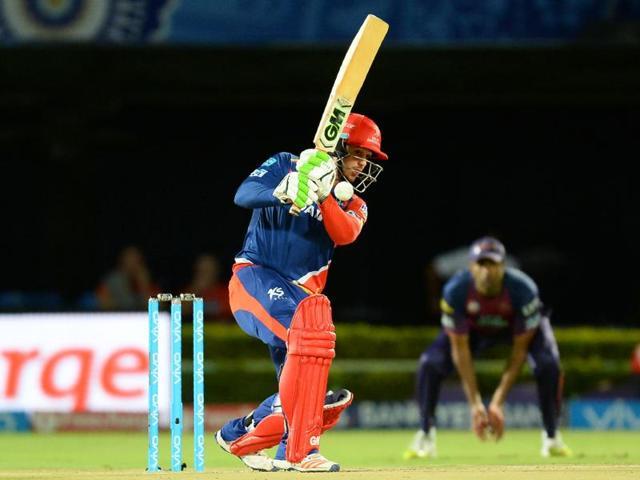 Delhi Daredevils batsman Quinton de Kock plays a shot during the IPL match against Rising Pune Supergiants and Delhi Daredevils at Dr YS Rajasekhara Reddy ACA-VDCA Cricket Stadium in Visakhapatnam on May 17, 2016.