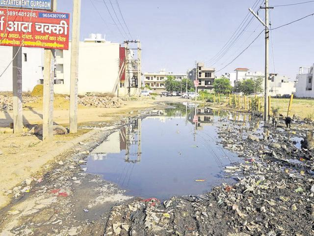 More than 200 families living in Sector 45 face a lot of problems as the main road is submerged in dirty water.