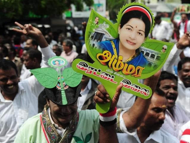 Supporters of the All India Anna Dravida Munnetra Kazhagam(AIADMK) celebrate party chief Jayalalithaa's victory. The politician returns for a successive term, only the second person to do so in 30 years in Tamil Nadu.