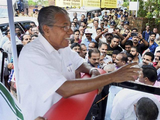 LDF leader Pinarayi Vijayan celebrates the party's victory in assembly elections in Kannur on Thursday.