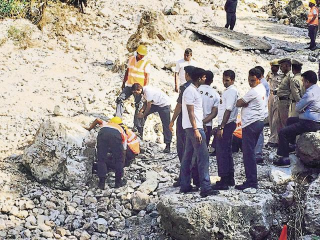 The NDRF team during the search operation.
