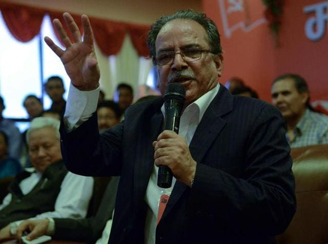 Maoist chairman Pushpa Kamal Dahal, known as 'Prachanda' addresses a crowd after announcing the unification of the party with splintered groups to form the new party, the Communist Party Nepal (Maoist Centre) in Kathmandu.