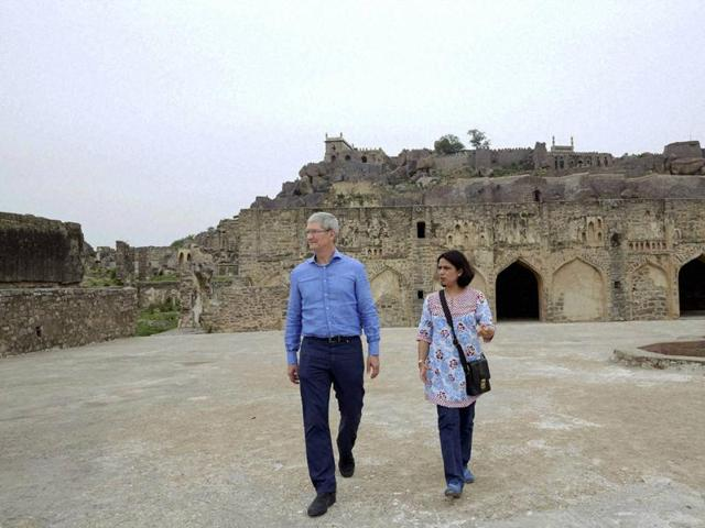 Apple's CEO Tim Cook visits the Golconda Fort in Hyderabad in Hyderabad on Thursday.
