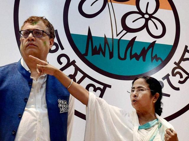 All India Trinamool Congress leader and West Bengal chief minister Mamata Banerjee speaks during a press conference in Kolkata, India.