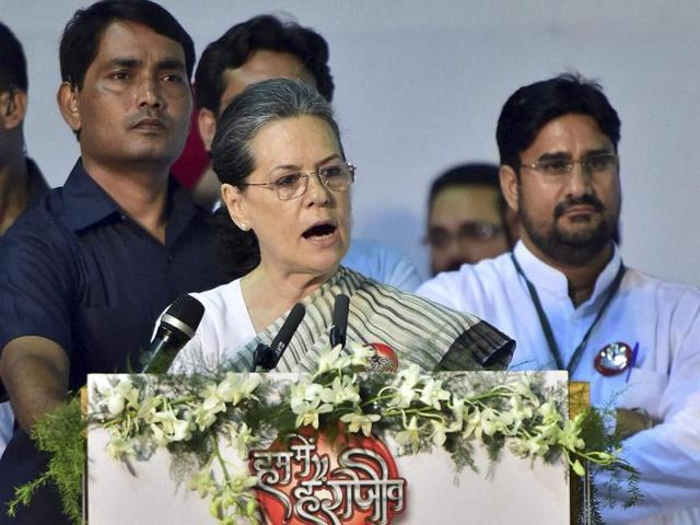 Congress president Sonia Gandhi speaks at a function to pay tributes to her late husband and former prime minister, Rajiv Gandhi, on his 25th death anniversary in New Delhi on Saturday.