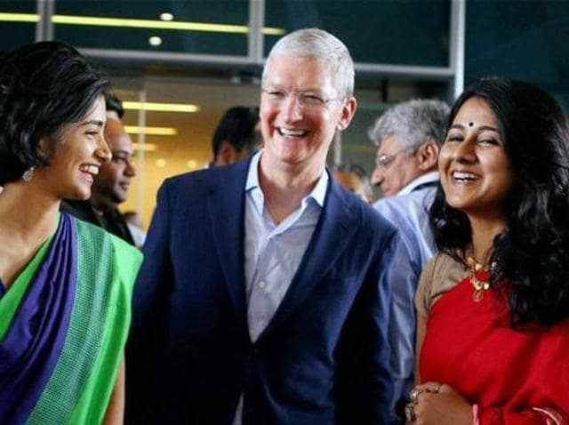 Apple CEO Tim Cook during the inauguration of the company's development office in Hyderabad on Thursday.