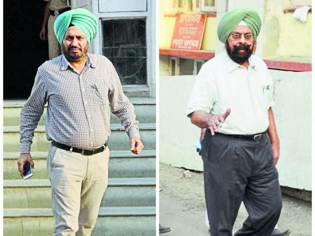 Zira DSP Hardev Singh and Punjab ex-DIG Kultar Singh (right) leaving the amritsar district court on Friday.
