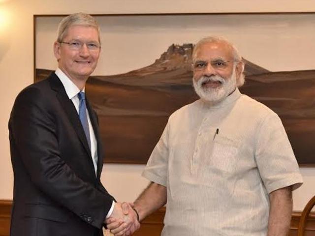 Apple CEO Tim Cook met Prime Minister Narendra Modi on Saturday.