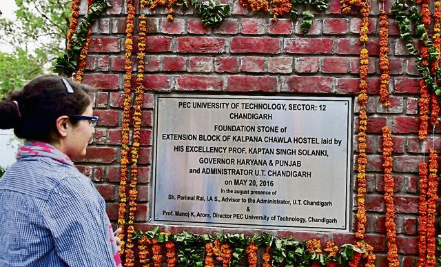 One of the three plaques without the MP's name; PEC University of Technology officials have apologised.