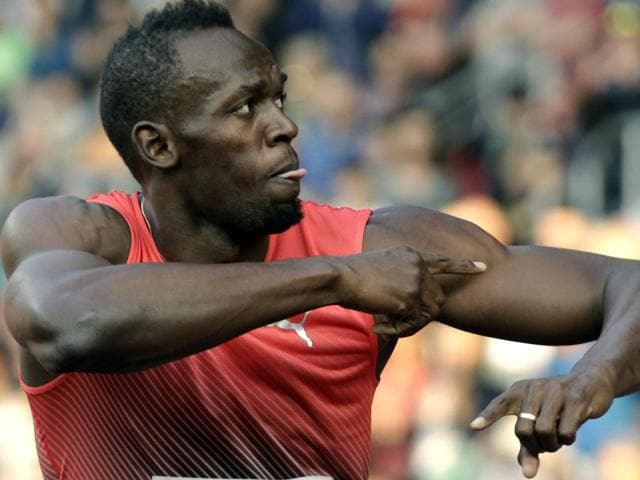 Jamaica's sprinter Usain Bolt gestures after the men's 100 meters event at the Golden Spike athletic meeting.