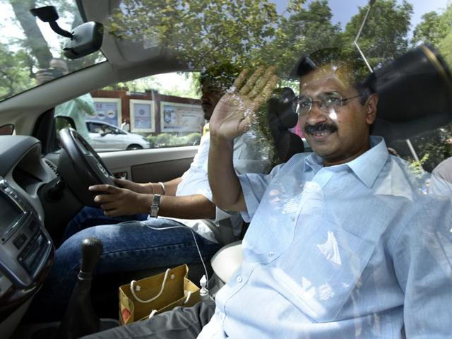 In this file photo, Delhi chief minister Arvind Kejriwal can be seen leaving from Patiala House Court after a hearing of a defamation case against him filed by Union finance minister Arun Jaitley.