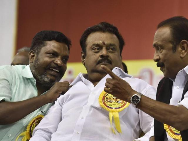 DMDK leader Vijayakanth (centre) during a campiagn rally in Mamandur near Chengalpattu.