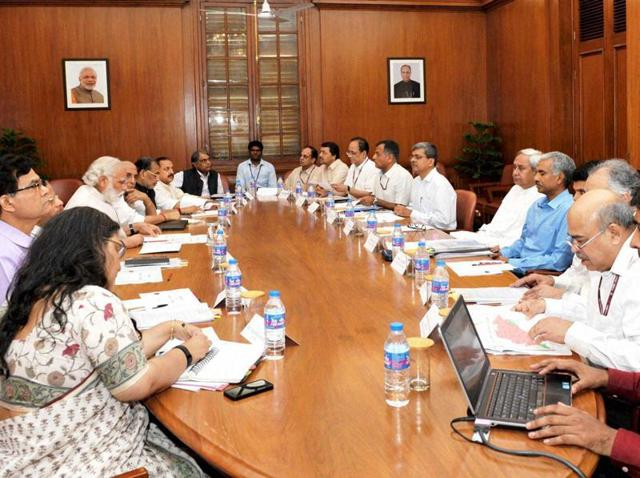 Prime Minister Narendra Modi chairing a high level meeting on drought situation with the chief minister of Odisha, Naveen Patnaik in New Delhi.