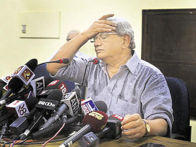 CPI(M) general secretary Sitaram Yechury addresses the media after election results on Thursday