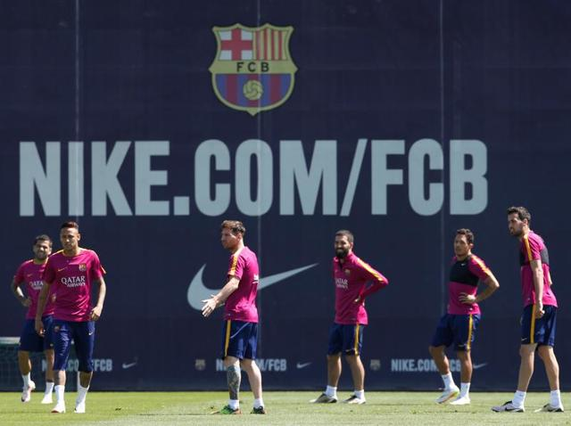 Barcelona's players attend a training session prior to Spanish Kings Cup final against Sevilla.