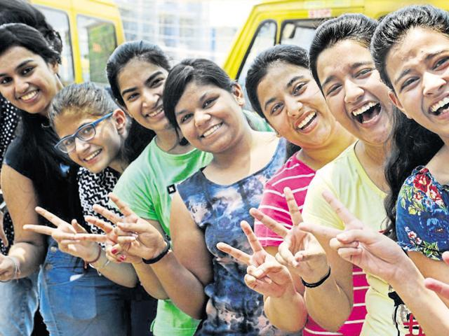 Students after the CBSE class 12th results in Blue Bells Model School Gurgaon on Saturday.