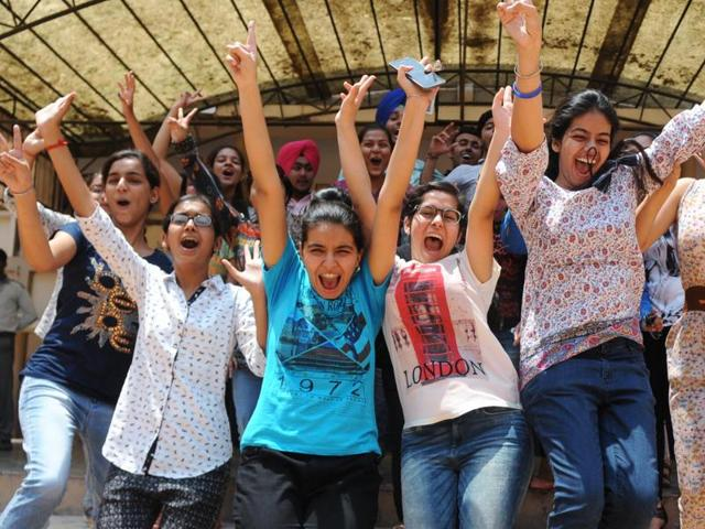 Students after the CBSE class 12th results were declared in Patiala on Saturday.