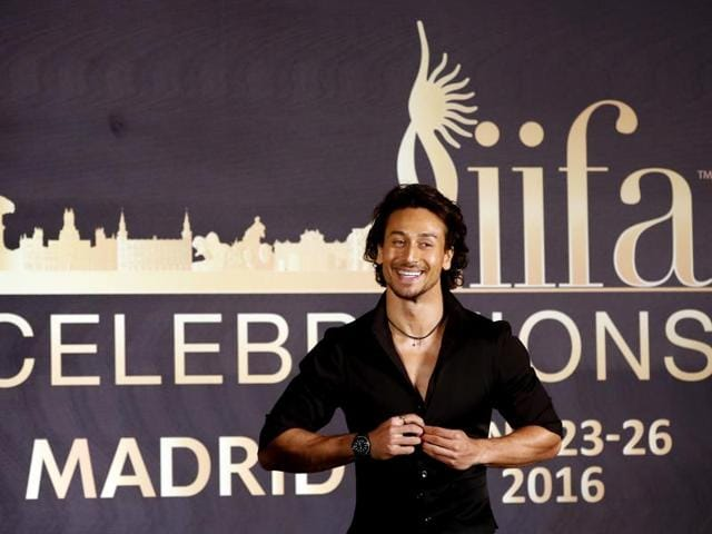 Tiger Shroff reacts during a press conference to announce the IIFA celebration venue, in Mumbai  on Friday.