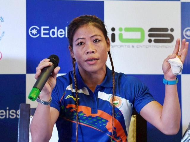 In this file photo, boxer MC Mary Kom can be seen speaking during an event in New Delhi.