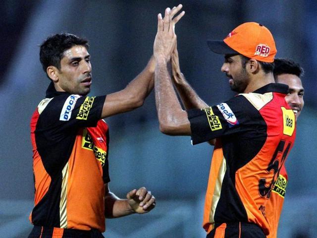 Sunrisers Hyderabad player Ashish Nehra celebrates the wicket of Mumbai Indians player Ambati Rayudu.