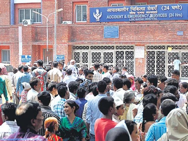 Lok Nayak Hospital in Delhi. The strike is expected to affect more than 50,000 Delhiites who depend on government hospitals for health care.