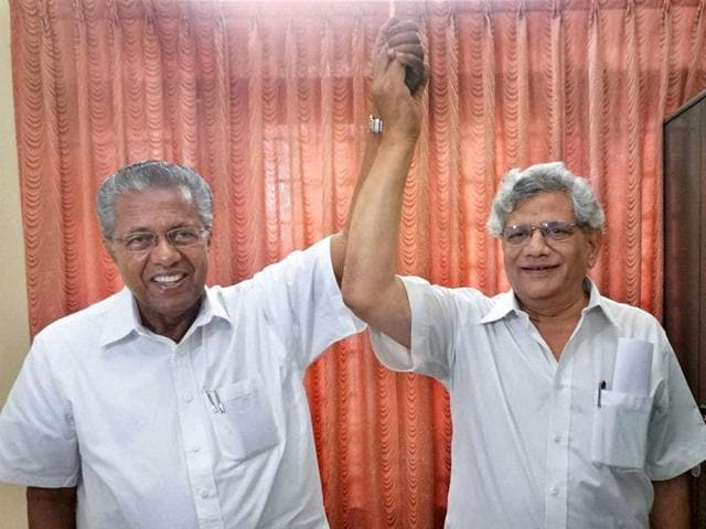 CPI(M) general secretary Sitaram Yechury with party leader Pinarayi Vijayan who is set to be new Chief Minister of Kerala, in Thiruvananthapuram on Friday.