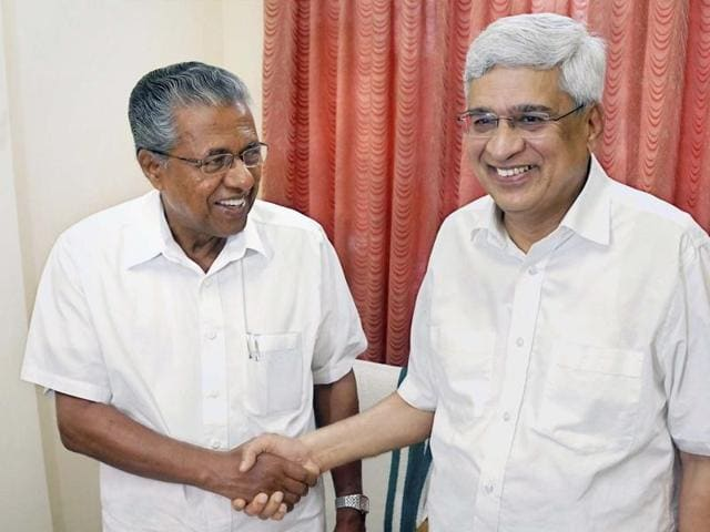 CPI(M) leader Prakash Karat (right) with party leader Pinarayi Vijayan, who is set to be new chief minister of Kerala.