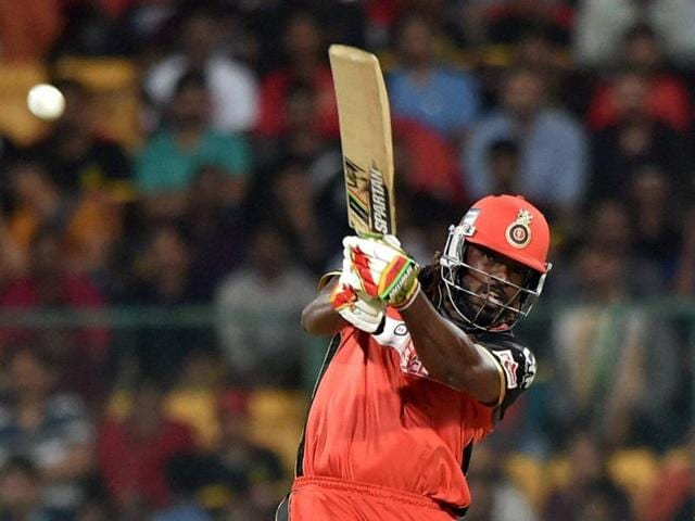 Royal Challengers Bangalore's Chris Gayle plays a shot during an IPL 2016 match against Kings XI Punjab at Chinnaswamy Stadium in Bengaluru on Wednesday.