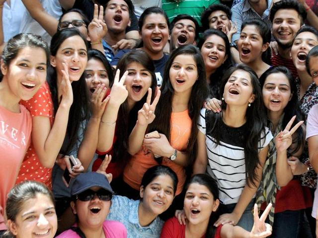 Students celebrate after Central Board of Secondary Education (CBSE) released Class 12 results on Saturday, in Amritsar.