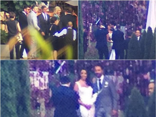"""""""They married on an altar under lots of little lights. It was very romantic. Eva wore her hair down and smiled during the whole ceremony. He was in a gray suit,"""" said a source."""