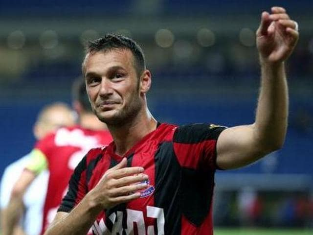 A file photo of Albanian striker Hamdi Salihi.