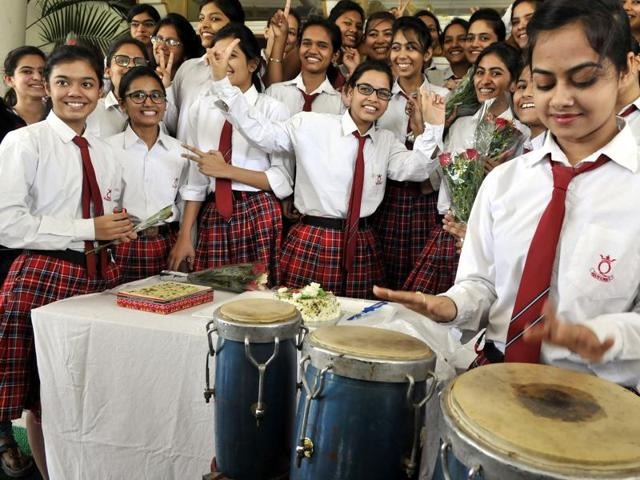 Students of St Joseph Convent celebrate their success in Bhopal on Saturday.