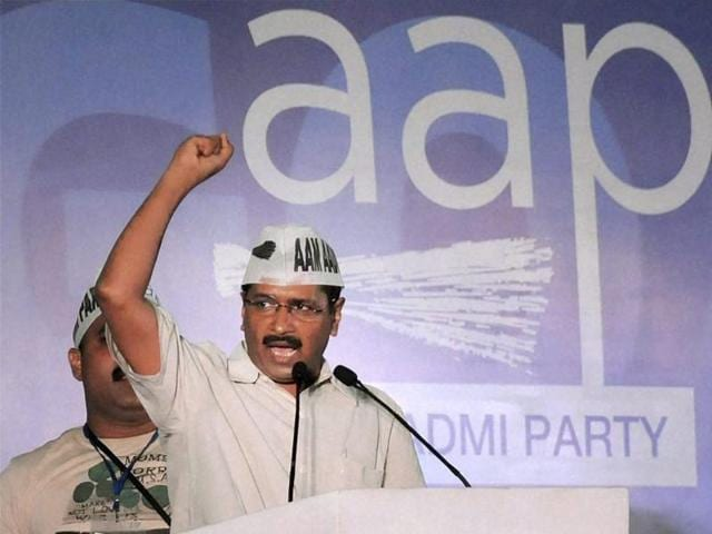 AAP convener and Delhi chief minister Arvind Kejriwal addresses a rally in Panaji, Goa.