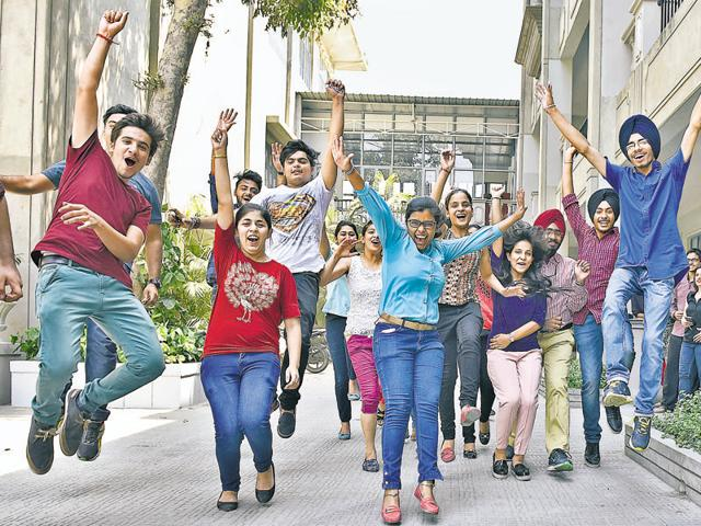 Students of The Senior Study II in a jubilant mood after the CBSE Class-12 results were declared in Amritsar on Saturday.(Gurpreet Singh/HT Photo)