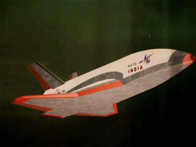 An artist's impression of the India's Swadeshi Space Shuttle, which is ready to fly. The shuttle is being given finishing touches at Sriharikota.