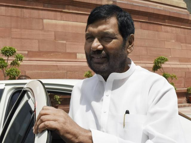LJP supremo Ram Vilas Paswan at Parliament during the budget session in New Delhi.