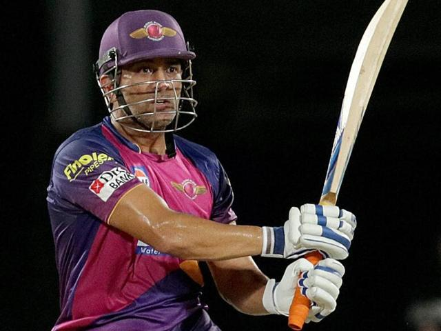 Rising Pune Supergiants captain MS Dhoni plays a shot during an IPL 2016 match against Kings XI Punjab.