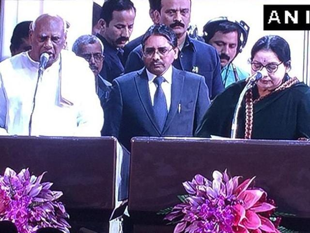 Oath taking ceremony of Tamil Nadu CM and the council of ministers underway at Madras University in Chennai.