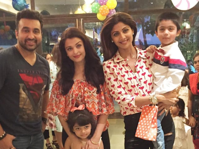 Aishwarya Rai Bachchan with daughter Aaradhya at the birthday party of Raj Kundra and Shilpa Shetty Kundra's son Viaan.