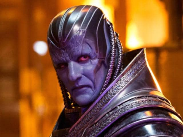 The first image of Apocalypse made him seem small and gave him a purple tint.