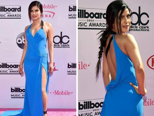 Priyanka Chopra is a beauty in blue while stepping down the red carpet at the 2016 Billboard Music Awards held at the T-Mobile Arena on Sunday.