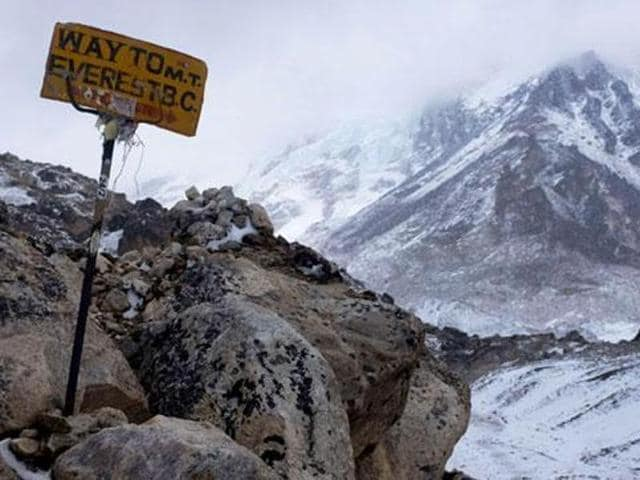 A sign shows the way to Everest Base Camp high in the Khumbu Glacier. (AFP File Photo)