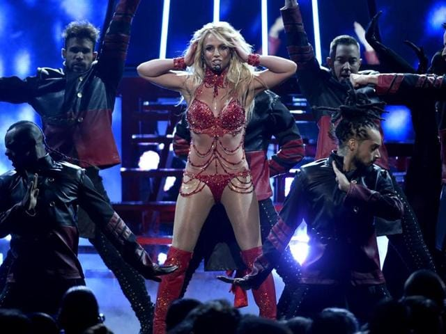 Britney Spears performs at the Billboard Music Awards at the T-Mobile Arena on Sunday in Las Vegas.