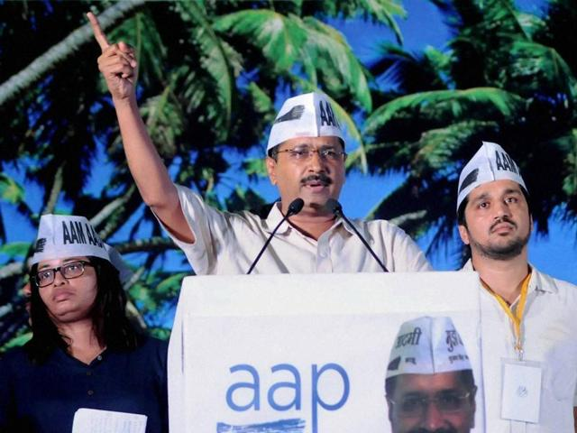 AAP leader and Delhi Chief Minister Arvind Kejriwal addresses a public meeting in Panaji, Goa, on Sunday.