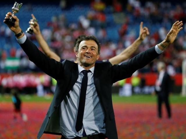 Barcelona manager Luis Enrique celebrates after winning the Copa del Rey Final.
