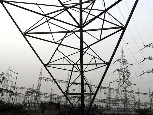 High voltage electricity towers on the outskirts of New Delhi.