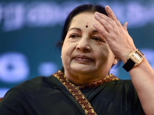 AIADMK supremo J Jayalalithaa during her swearing in ceremony at Madras University Centenary Auditorium in Chennai on Monday.